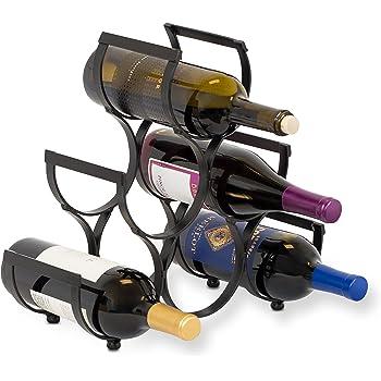 BIRDROCK HOME Wine Rack - Pyramid Wine Stand Holder - 6 Bottles - Black Metal