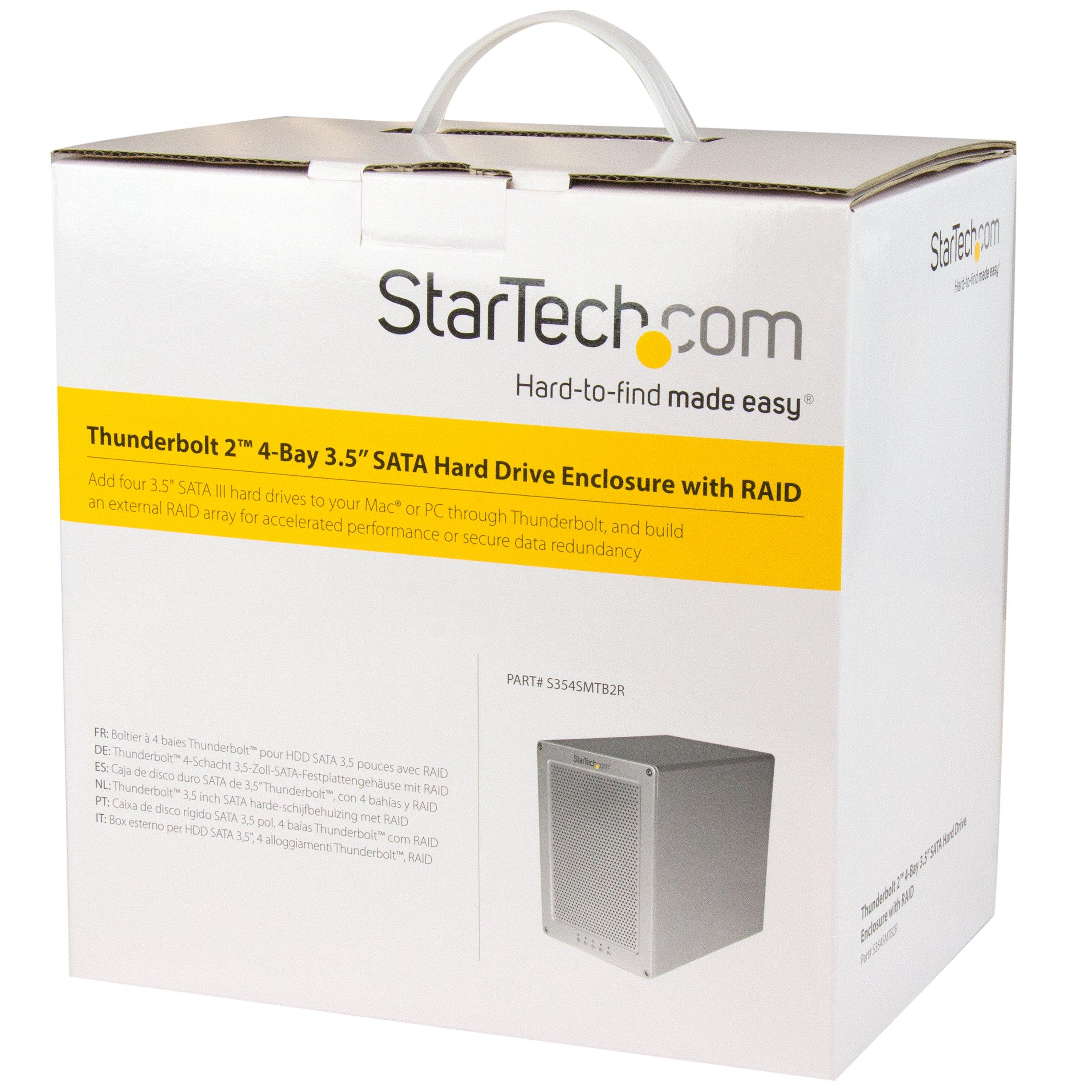 StarTech.com S354SMTB2R - Caja Thunderbolt 2 con 4 bahías Raid de 3.5