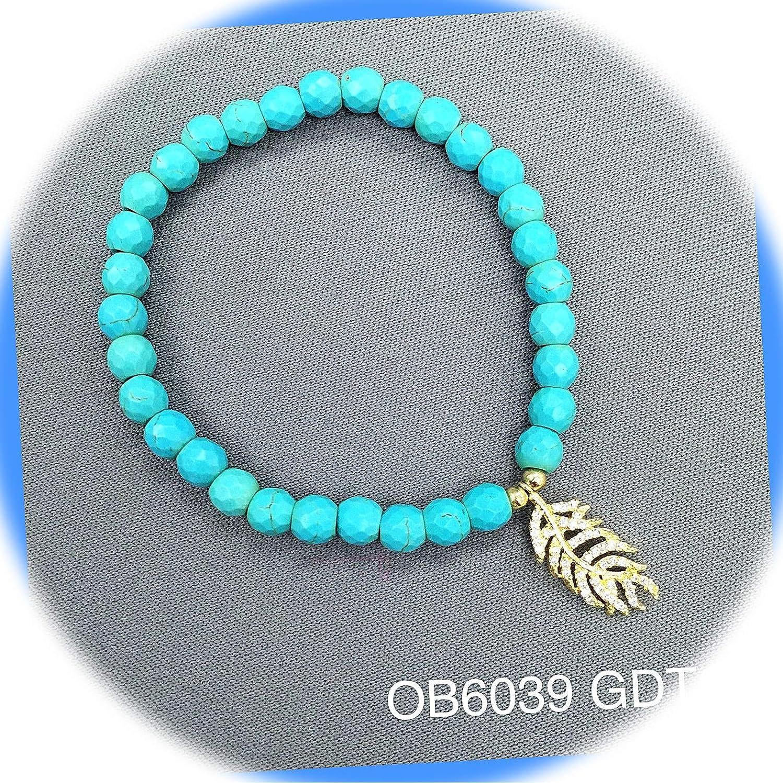New Turquoise Beads Semi-Precious wholesale Cubic Charm Zirconia Superlatite Feather S