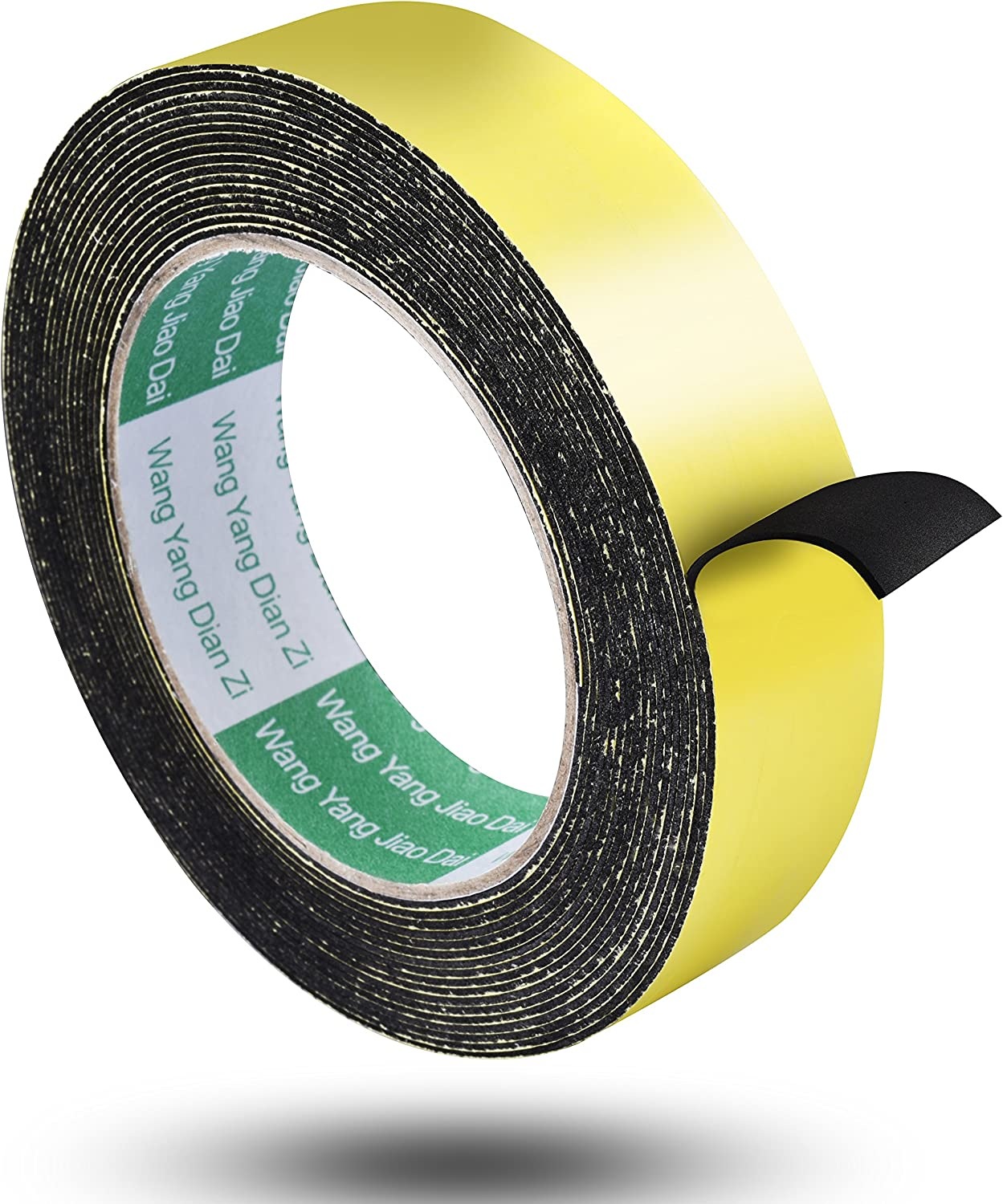 Aweking Double Sided Sponge Tape 3mm Thickness 8mm x 4m, Water Resistant,Shock Absorbing,Sound Deadened Insulation,Dust Sealing,Fixed,Black