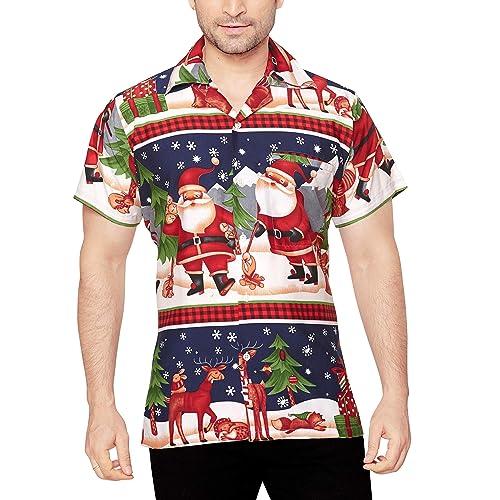 CLUB CUBANA Men s Regular Fit Classic Short Sleeve Casual Christmas Xmas  Shirt ff9c68480