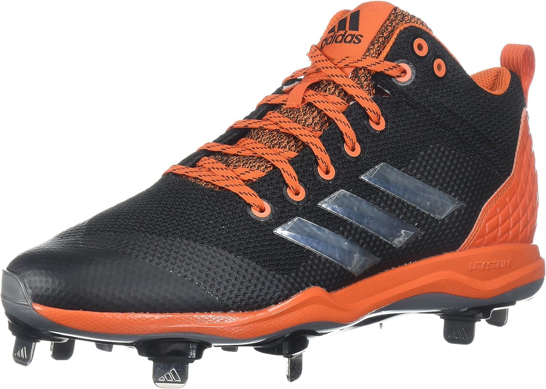 Adidas Men's Freak X Carbon Mid Baseball shoes, core Black, Silver met, Collegiate orange, 17 M US