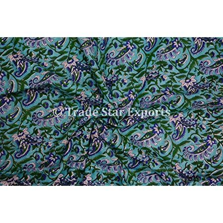 By the yard cotton indian hand block printed paisely flower  print fabric dress making fabric #SWGFB 187