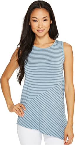 Petite Sleeveless Asymmetrical Hem Simple Stripe Top