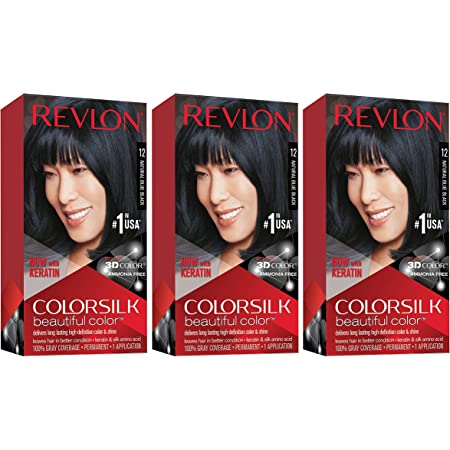 REVLON Colorsilk Beautiful Color Permanent Hair Color with 3D Gel Technology & Keratin, 100% Gray Coverage Hair Dye, 12 Natural Blue Black, 4.4 oz (Pack of 3)
