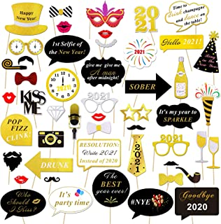 2021 New Years Photo Booth Props Kit(50pcs),Konsait Funny Glitter New Years Eve Party Photo Booth Sticks for Adult Kids Women Man Party Accessories 2021 New Year Party Decor Decoration Favor Supplies