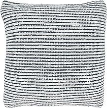 """SARO LIFESTYLE Nautica Collection Woven Striped Throw Pillow Cover, 18"""" x 18"""", Blue"""