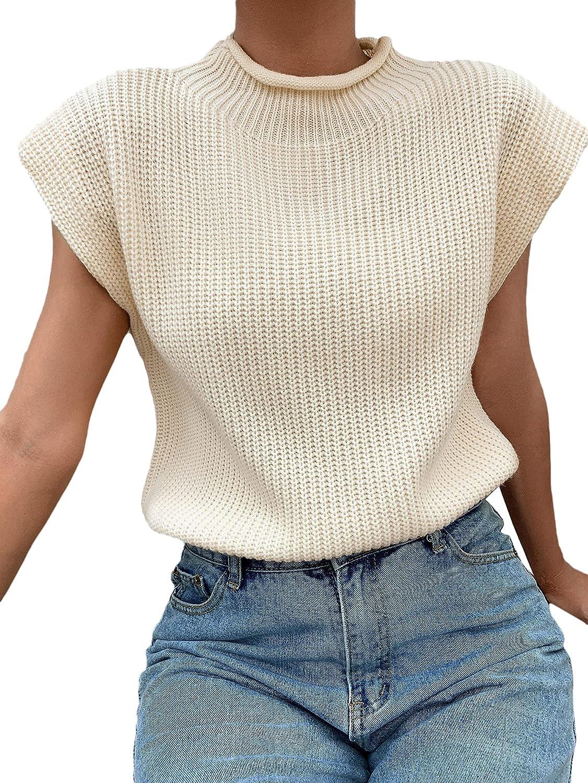 SheIn Women's Mock Neck Short Cap Sleeve Sweater Vest Casual Solid Pullover Top