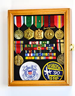 XS Military Pin Display Case Cabinet Box for Medals Pins Patches Insignia Ribbons w/98% UV Lockable -Oak