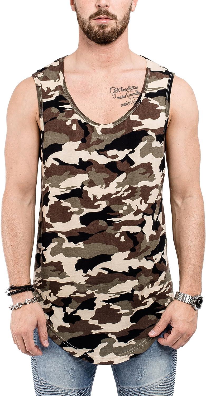 Phoenix Blackskies Oversized Longline Round Tank Top Mens Striped Camo Camouflage Gray Beige Black Longshirt S M L XL