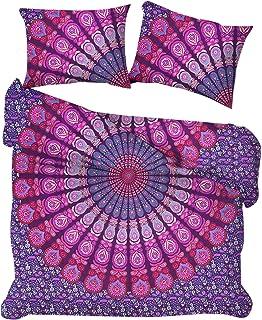 Marusthali Indian Peacock Mandala Funda nórdica Throw Reversible Cotton Doona Cover Juego de Fundas para colchas Hechas a Mano de Ropa de Cama