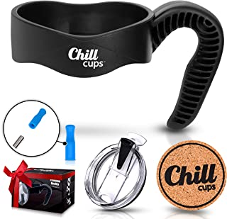 Handle and Spill Proof Flip Lid Bundle for 30 oz Insulated Drinking Thermal Tumbler Mug - Silicone Tip for 8mm Straw - Bonus Cork Coaster By Chill Cups