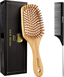 BFWood Bamboo Paddle Hairbrush with Bamboo Bristles for Massaging Scalp and Tail Comb Black Carbon Fiber