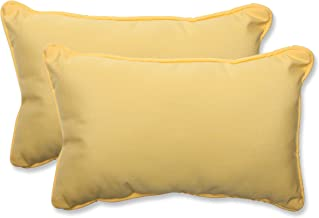 Pillow Perfect Indoor/Outdoor Rectangular Throw Pillow (Set of 2) with Sunbrella Canvas Buttercup Fabric, 18.5 in. L X 11.5 in. W X 5 in. D