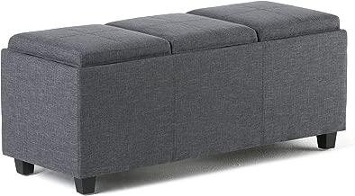 Simpli Home 3AXCAVA-OTTBNCH-02-GL Avalon 42 inch Wide Contemporary Rectangle Storage Ottoman in Slate Grey Linen Look Fabric