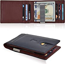 Money Clip Slim Wallets for Men - Front Pocket RFID Leather Minimalist Thin Mens Wallet Credit Card Holder with ID Window