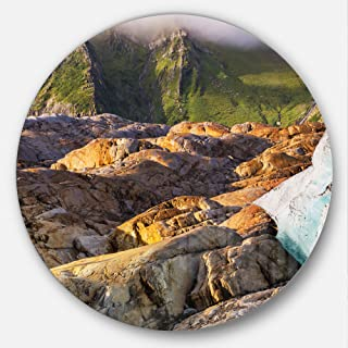 Designart Hike in Norway Mountains Landscape Metal Artwork- Disc of 23, 23'' H x 23'' W x 1'' D 1P, Brown/Green