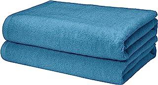 AmazonBasics Quick-Dry, Luxurious, Soft, 100% Cotton Towels, Lake Blue - Set of 2 Bath Towels