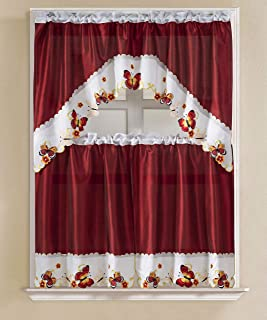 RT Designers Collection Vintage Butterfly Faux Silk Tier and Swag Kitchen Curtain Set, (1x) Valance: 60 x 36-inch / (2X) 30 x 36-inch, Burgundy/Yellow/Orange/White
