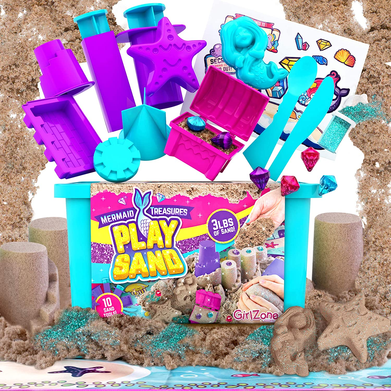 GirlZone Mermaid Many popular brands Treasures Play Sand for 3lbs San of Magic Seasonal Wrap Introduction Kids