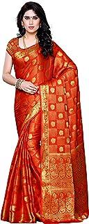 MIMOSA Women's Kanchipuram Chiffon Saree With Un-stitched Blouse (221-ORNG_Orange)