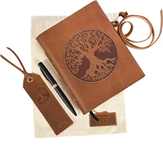 Tree of Life Journal Gift Set – Leather Journal for Women, Leather Bound Journal for Men, Leather Bookmark, Fancy Pens, Handmade Leather Notebook to Write in, Sketchbook, Travel Journal Diary