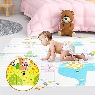Lekmatta för bebisar 160x180x1cm XXL vändbar skumgolvsmatta – Bärbar lekmatta för småbarn - motorisk matta för sensorisk u...