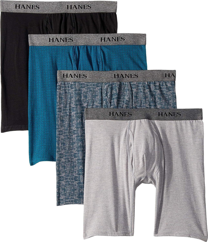 Hanes Men's 4-Pack Stretch Long Leg Boxer Briefs