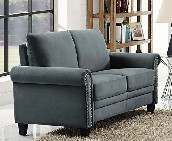 LifeStyle Solutions Arlington Loveseat Charcoal Grey