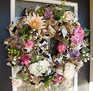 XL Deluxe Romantic Rustic Floral Front Door Deco Mesh Wreath, French Country, Classic Everyday, Spring, Summer, Mothers Day, Valentine's Day