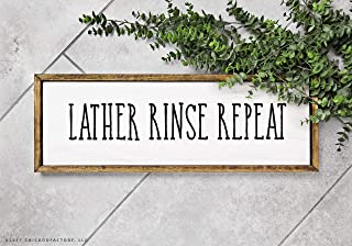 CELYCASY Customized Lather Rinse Repeat Sign Bathroom Wall Decor Wood Bathroom Signs Modern Farmhouse Bathroom Decor Framed Bathroom Sign (GP1709)