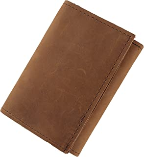 Mens Top Grain Leather Tri-Fold Wallet, 16 credit card slots,Made in USA