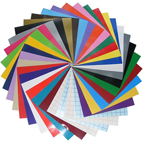 Qbc Craft 12x12 Permanent Adhesive Vinyl Sheets (36 Pack) Including Transfer Paper Assorted Colors