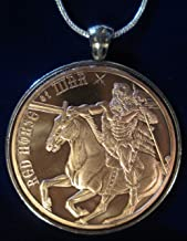 Red Horse of War Copper Round Sterling Silver Necklace