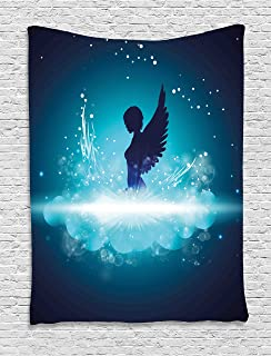 Ambesonne Blue Tapestry, Fantasy Mythology Themed Artwork with a Angel Woman Silhouette Wings Bubbles, Wall Hanging for Bedroom Living Room Dorm, 40WX60L Inches, Dark Blue Light Blue