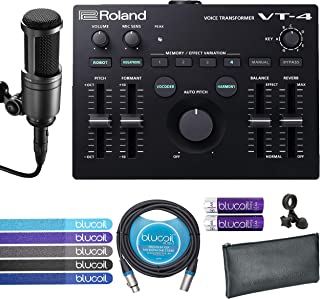 Roland VT-4 Voice Transformer Vocal Effects Processor Bundle with Audio-Technica AT2020 Cardioid Condenser Microphone, Blucoil 10-Ft XLR Balanced Cable, 4 AA Batteries and 5 Pack of Cable Ties