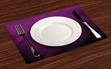Ambesonne Eggplant Place Mats Set of 4, Abstract Purple Squares in Faded Color Scheme with Modern Art Inspired Style Pixelart
