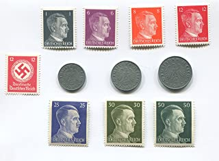 Ultra Premium Nazi World War Two WW2 German Coin Swastika Coins and Hitler Stamp Set / Collection