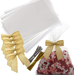 VANILILA Clear Cellophane Bags 50ct with Ties and 5 Bows- 6x9 Inches Flat Goodie Bags For Packaging Party Favors, Snacks,Cookies ,Sweet Treats- 40MM Thickness Cello Bags For Wedding ,Parties & Events