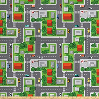 Ambesonne City Fabric by The Yard, Birds Eye View Map of The Abstract Town Streets Roads Houses and Cars Cartoon Print, Decorative Fabric for Upholstery and Home Accents, 1 Yard, Dark Grey