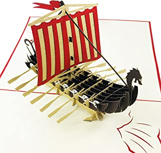 Viking Ship - WOW 3D Pop Up Greeting Card - Suitable for Birthday, Good Luck, Congrats, Fathers Day, Get well, Goodbye, Farewell - Premium, Handcrafted