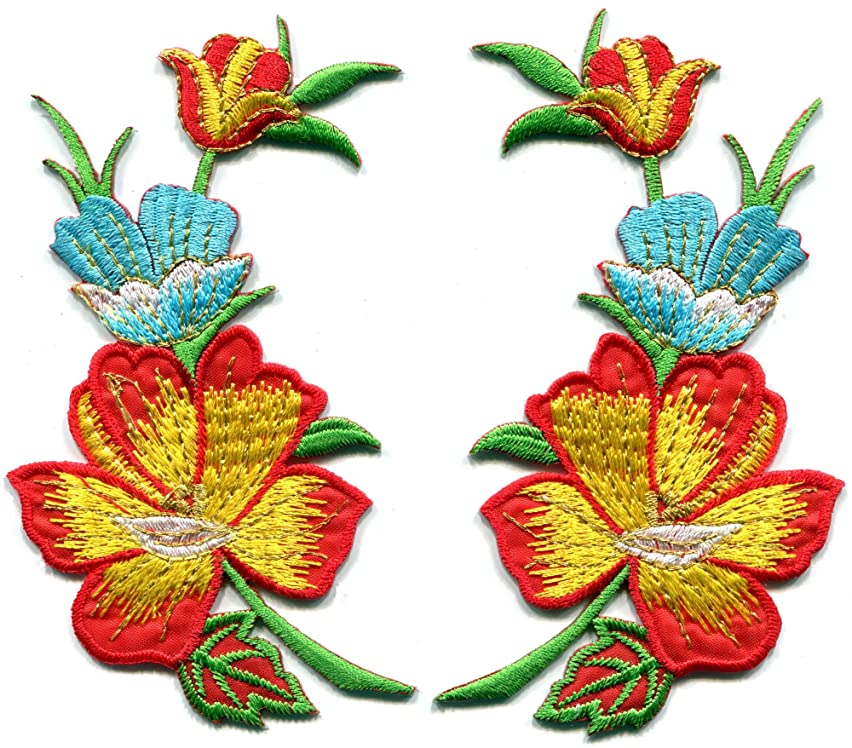 'Fire' red orange yellow summer flowers pair embroidered appliques iron-on patches S-1368
