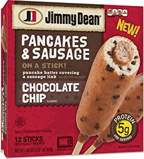 Jimmy Dean Pancakes and Sausage on a Stick, Chocolate Chip, 12 Count (Frozen)