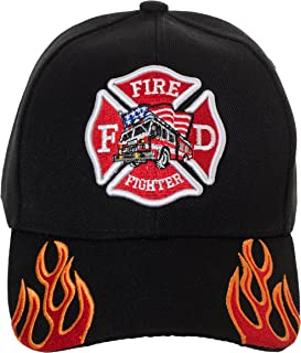 97d52e7cd8be5 Artisan Owl Fire Fighter Fire Department Rescue Flames Baseball Cap Hat