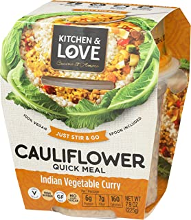 Kitchen & Love Indian Vegetable Curry Cauliflower Quick Meal 6-Pack | Vegan, Gluten-Free, Keto, Ready-to-Eat, No Refrigera...