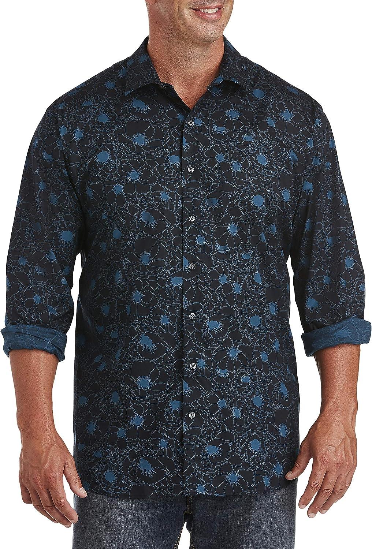 DXL Synrgy Big and Tall Stretch Sport Shirt, Caviar