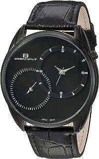 ساعة اوشينت للرجال سينتينيل ستانليس ستيل كوارتز مع حزام جلدي، لون أسود، 20 (OC3350)