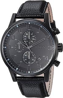 ساعة هيوغو بوس للرجال بمينا اسود وبسوار جلدي - 1512567