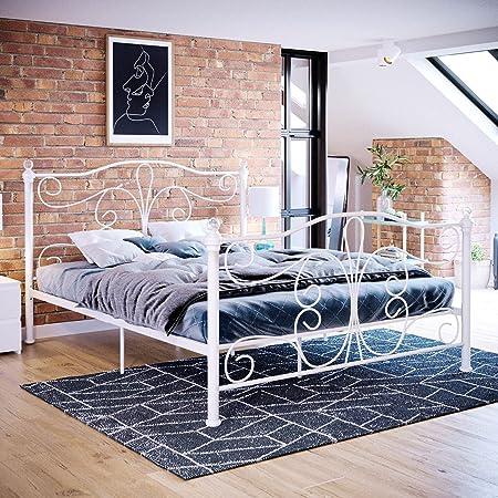 Vida Designs Lit King Size Chicago - Cadre de lit 152 cm - Tête de lit en métal - Pieds Hauts - Meuble de Chambre à Coucher - Blanc