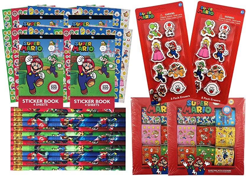 Super Mario Bros Birthday Party Favors Pack For 16 | Includes Mario And Friends Sticker Sheets, Sticker Rolls, Mario Kart Pencils, Erasers | Super Mario Party Gift Set | Video Game Party Supplies